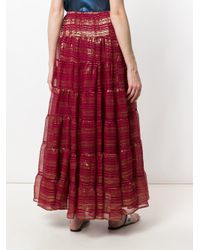 Mes Demoiselles - Red Metallic Detailed Maxi Skirt - Lyst