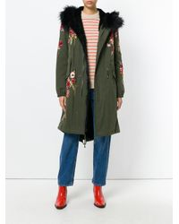 Amen - Green Floral Embroidered Parka Coat - Lyst