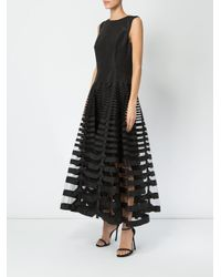 Oscar de la Renta - Black Organza Striped Dress - Lyst
