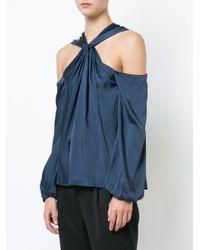 Elizabeth and James - Blue Twist Halterneck Off The Shoulder Blouse - Lyst