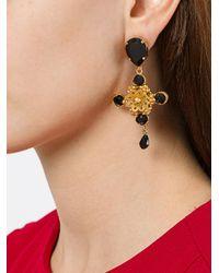 Dolce & Gabbana | Black Stud-drop Earrings | Lyst