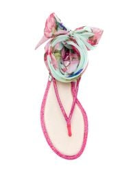 Rene Caovilla - Pink Ankle Tie Sandals - Lyst