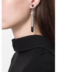 Jil Sander - Black Embellished Drop Earrings - Lyst