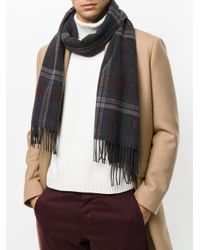 Polo Ralph Lauren - Gray Checked Fringed Scarf for Men - Lyst