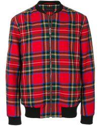 Christopher Kane - Red Tartan Bomber Jacket for Men - Lyst