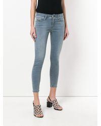 DIESEL - Blue Cropped Frayed-trim Skinny Jeans - Lyst