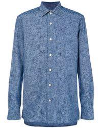 Kiton - Blue Micro Dot Shirt for Men - Lyst