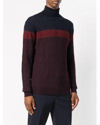 Corneliani - Brown Contrast Roll-neck Sweater for Men - Lyst