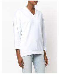 KENZO - White V-neck Sweater - Lyst