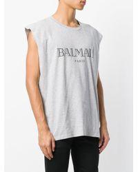 Balmain - Gray Logo Print T-shirt for Men - Lyst