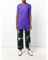 Pleats Please Issey Miyake | Black Abstract Print Cropped Trousers | Lyst