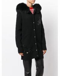 Philipp Plein - Black Skull Mink Fur Hooded Coat - Lyst