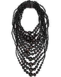 Monies - Black Tiered Round Bead Necklace - Lyst