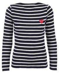 Play Comme des Garçons | Black - Embroidered Heart Striped Jumper - Women - Wool - M | Lyst
