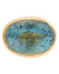 Ram - Blue 22kt Gold Aquamarine Stone Ring - Lyst
