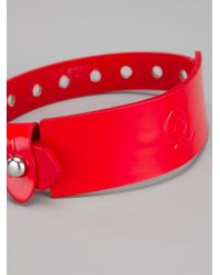 McQ - Red Logo Embossed Bracelet - Lyst