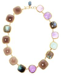 Ram | Metallic 18kt Gold Amethyst, Aquamarine, Labradorite And Smoky Quartz Necklace | Lyst