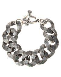King Baby Studio - Gray Textured Chain Link Bracelet - Lyst