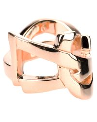 Saint Laurent - Metallic 'monogram' Ring - Lyst