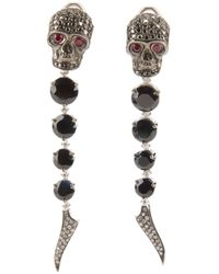 Gavello | Metallic Sapphire, Diamond And Ruby Skull Head Earrings | Lyst