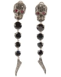 Gavello | Black Sapphire, Diamond And Ruby Skull Head Earrings | Lyst