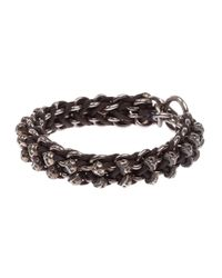 Tobias Wistisen | Black Skull Bar Bracelet for Men | Lyst