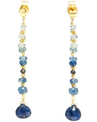 Natasha Collis | Metallic Blue Sapphire And 18kt Gold Drop Earrings | Lyst