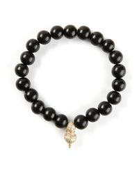 Luis Morais | Black Diamond Embellished Detail Bracelet for Men | Lyst