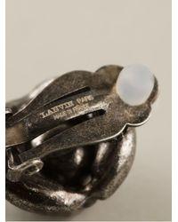 Lanvin - Gray Embellished Clip-on Earrings - Lyst
