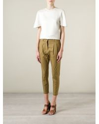 Erika Cavallini Semi Couture - Green Cropped Trousers - Lyst