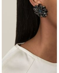 Lanvin - Blue Flower Clip On Earrings - Lyst