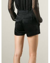 Band of Outsiders - Black Satin Side Zip Shorts - Lyst