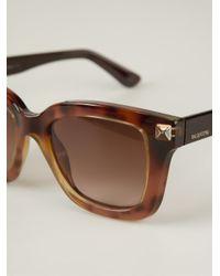 Valentino | Brown 'rockstud' Sunglasses | Lyst