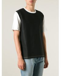 AMI - Black Colour Block T-Shirt for Men - Lyst