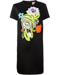 Christopher Kane | Black Decades Floral Shift Dress | Lyst
