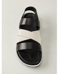 Moncler | Black Strappy Flat Sandals | Lyst