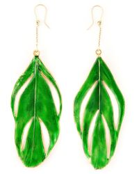 Aurelie Bidermann | Green 'swan' Feather Earrings | Lyst