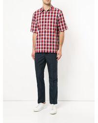 Calvin Klein - Red Mixed Gingham Short Sleeve Shirt for Men - Lyst