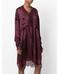 Faith Connexion - Purple Lace Trim Shirt Dress - Lyst