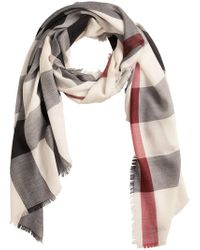 Burberry - White Lightweight Check Scarf - Lyst