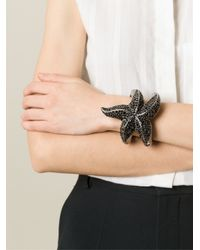 Roberto Cavalli - Black Embellished Sea Star Bracelet - Lyst