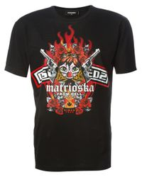 DSquared² | Black Matrioska Print T-shirt for Men | Lyst