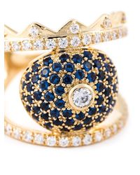 KENZO - Blue Crystal Embellished Ring - Lyst