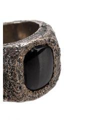 Tobias Wistisen - Metallic 'leather Stone' Ring for Men - Lyst