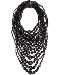 Monies | Black Tiered Round Bead Necklace | Lyst