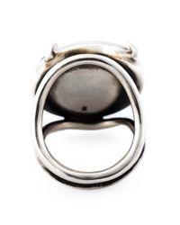 Ann Demeulemeester - Black Diamond Medallion Ring - Lyst