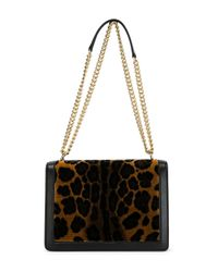 Dolce & Gabbana - Black Rosalia Velvet and Leather Shoulder Bag - Lyst