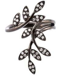 Joelle Jewellery | Metallic Diamond Leaves Ring | Lyst