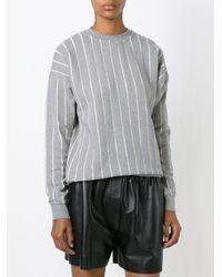 T By Alexander Wang - Gray Pinstriped Sweatshirt - Lyst