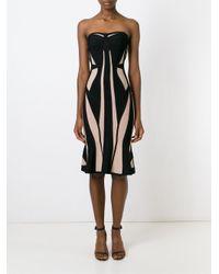 Hervé Léger - Black Hervé Léger Paneled Strapless Fitted Dress - Lyst